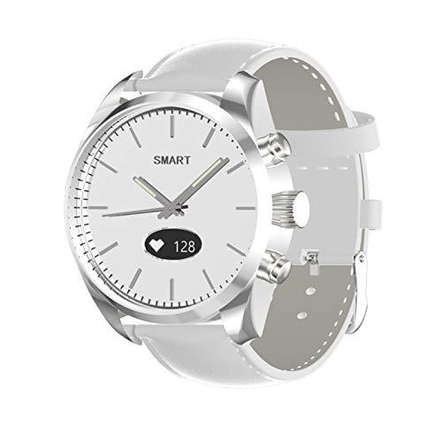 GZA Toleda T4 Cuarzo Mujer Relojes Natación Relojes Impermeables Inteligentes BT Hybrid Smart Watch Monitor De Frecuencia Cardíaca (Color : White Leather)