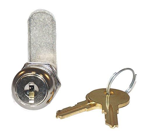 Disc Tumbler Cam Lock with 1 1/8' Cylinder and Chrome Finish, Keyed Alike