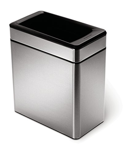 simplehuman 10 Liter / 2.6 Gallon Profile Open Trash Can, Brushed Stainless Steel