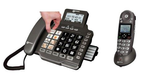 Geemarc AmpliDECT 355 Combo : schnurgebundenes Telefon mit 8 Fototasten/Anrufbeantworter und DECT-Mobilteil Deutsche Version
