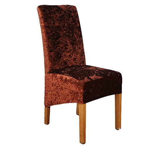 YAYANG Chair Cover Gold Diamant Samt Stuhlabdeckung Massivfarbe Stretch Abnehmbare Stuhlschutzschlepper Für Hotel Bankett Hochzeit Casual (Color : Coffee, Specification Show)