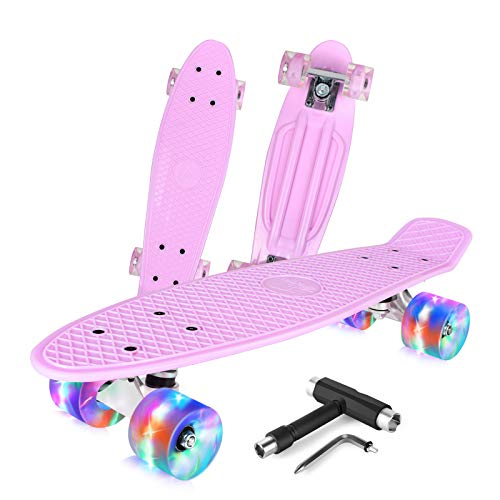BELEEV Skateboard 22 inch Complete Mini Cruiser Retro Skateboard for Kids Teens Adults, PU Wheels with All-in-One Skate T-Tool for Beginners (Pink)