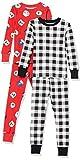 Amazon Essentials Kids Boys Snug-Fit Cotton Pajamas Sleepwear Sets, 4-Piece Red Snowglobe/Buffalo Plaid Set, Medium