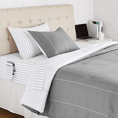 AmazonBasics Microfiber Bed-in-a-Bag with Elastic Storage Pockets - Twin/Twin XL, Grey Stripe