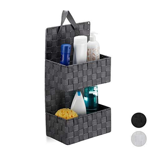 Relaxdays Hängeorganizer Stoff, 2 Fächer, Schlaufe zum Aufhängen, Türorganizer Bad, PP Körbe, HBT: 48x25x15cm, grau