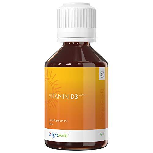 VITAMINA D3 LIQUIDA - VIT D + VITAMINA E IN GOCCE 2000ui - Alto Dosaggio - Integratore Alimentare Per Ossa, Articolazioni, Sistema Immunitario, Muscoli, Colecalciferolo Vegetale -50ml - Vegan