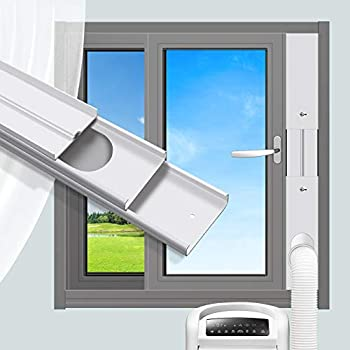 Gulrear Portable AC Window Kit for Vertical Window Portable Air Conditioner window seal parts Adjustable Length from 20  to 55  Sliding Window AC Vent Kit Fit for Exhaust Hose with 5.0 /13cm Diameter
