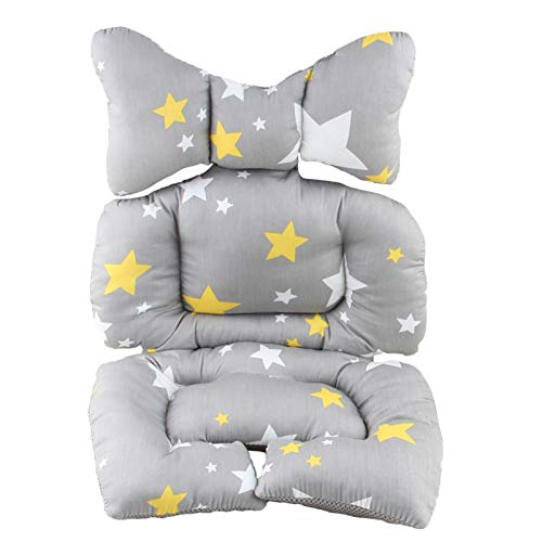 Infant Car Seat Insert, Lamavido Travel Pillow Cotton Baby Stroller Liner Head and Body Support Pillow, Infant Seat Pad Carseat Neck Support Cushion for Toddler (Star)
