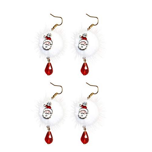 TENDYCOCO 2 Pairs Kerst Oorbellen Emaille Kerstman Patroon Pom Pom Oorbellen Drop Hanger Charm Vishaak Vrouwen Meisjes Gift Winter Sieraden (wit)