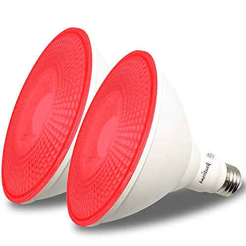 AmeriLuck 2-Pack Red Color Outdoor PAR38 LED Flood Light Bulb, 13W, Waterproof for Outdoor Use
