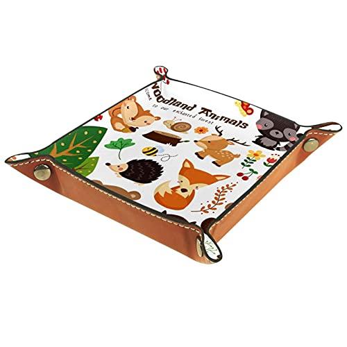 Woodland Animals, bandeja de cuero, bandeja de noche, bandeja de almacenamiento, organizador de joyas para hombres, monedero, caja de monedas, caja de viaje PU valet Tray