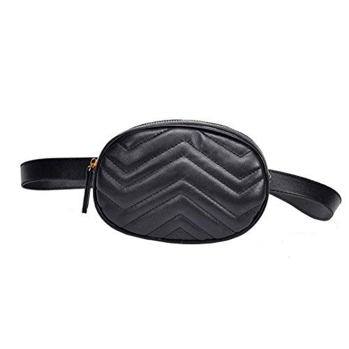 Fossen Moda Mujer Riñoneras Bolso del pecho de cuero del color puro de (Negro)