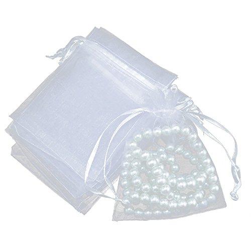 Jeu de 100pochettes bijoux en tissu avec cordon de serrage épais (pour cadeaux, fêtes, mariages), blanc, 10x15cm(4x6')