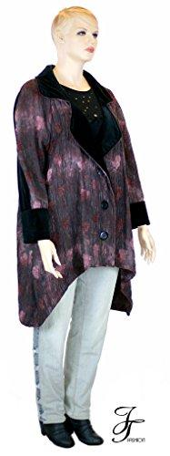 JT Fashion Jelle Töverie XXL XXXL Plussize mondäner Mantel für die Oper Bordo rot schwarz Crash Stukturgewebe + Samt seitl. Schlupftaschen 00600