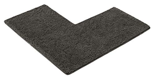 PANA Flauschiger Duschvorleger mit Eckausschnitt • Chenille Badematte in versch. Farben und Größen • Badteppich für Eckduschen • Badteppich rutschfest & waschbar • 50 x 100 x 100 cm • Farbe: Grau