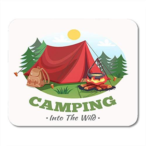 Mauspad camping sommerwald cartoon runde zusammensetzung zelt lagerfeuer rucksack mousepad für notebooks, Desktop-computer mausmatten, Büromaterial