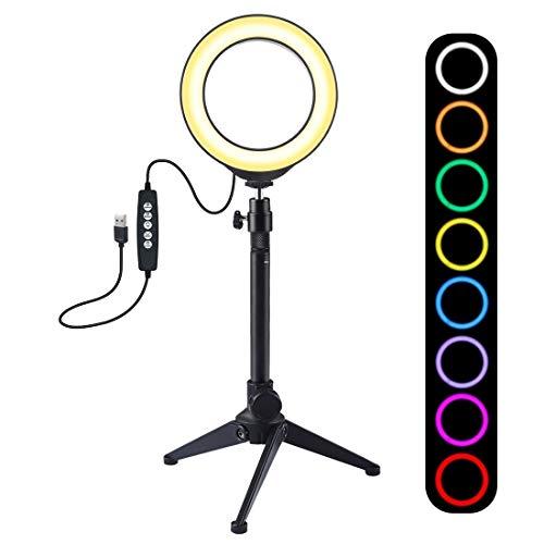 MSII AYS 4,7 pulgadas 12cm USB 10 Modos de 8 colores del anillo de LED RGBW regulable vlogging Fotografía luces de vídeo + trípode del montaje de sobremesa con el zapato frío cabeza de la bola del trí