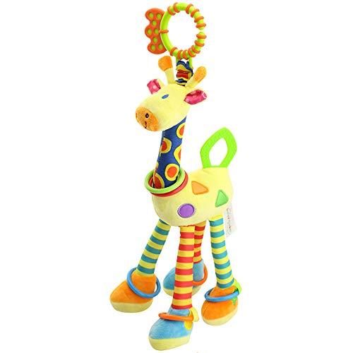 lefeindgdi Juguetes para bebé para colgar sonajeros, recién nacido, asiento de coche, juguetes para bebé, jirafa de dibujos animados, sonajeros suaves para bebés