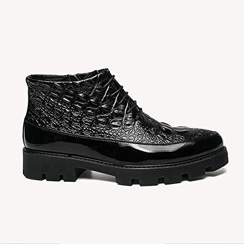 DENGSHENG SHOPS mannen laarzen met rits platform mode laarzen Engeland casual outdoor Martin laarzen zwart mannen casual comfort schoenen, Chukka Laarzen, 44 EU, Zwart