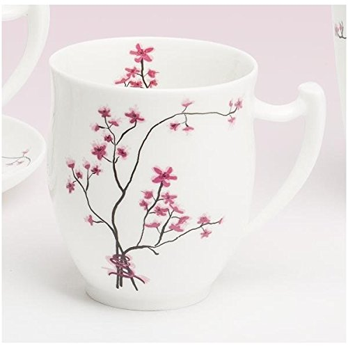 TeaLogic Becher, Tasse Cherry Blossom Kirschblüten für 0,35L weiß rosa Porzellan