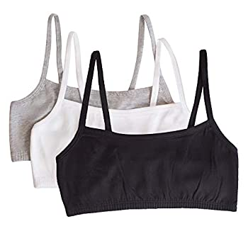 Fruit of the Loom Women s Spaghetti Strap Cotton Pullover Sports Bra Black/White/Heather Grey 40