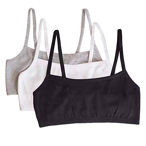 Fruit of the Loom Women's Spaghetti Strap Cotton Pullover Sports Bra, Black/White/Heather Grey, 36