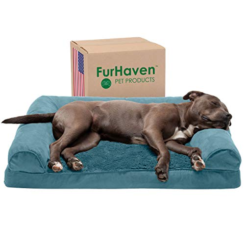 Furhaven Pet Dog Bed - Orthopedic Ultra Plush Faux Fur and Suede Traditional Sofa-Style Living Room Couch Pet Bed with Removable Cover for Dogs and Cats, Deep Pool, Large