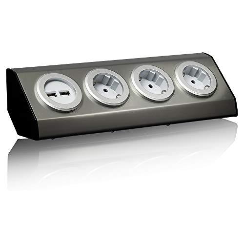 Presa angolare in acciaio inox, argento, Schuko, USB, per cucina, ufficio, ciabatta a 45°, montaggio ideale per piano di lavoro, autoadesiva, acciaio inox: 3 x 2 USB + cavo