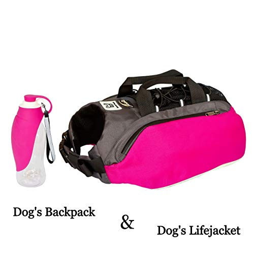 Bum#039s Pack Dog Backpacks Luminous amp Reflective Hiking Pack for Dogs Water Bottle Included Camping amp Travel Saddlebag for Dogs Dog Float Coat Dog Life Jacket Dog Backpacks for Medium amp Large Dogs