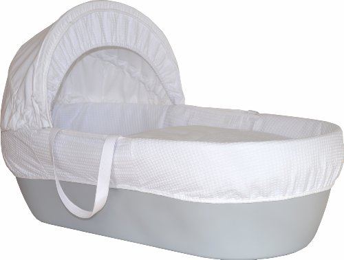 Shnuggle Moses Basket with White Waffle Cotton Dressing, Hood and Mattress - Pebble Grey Basket
