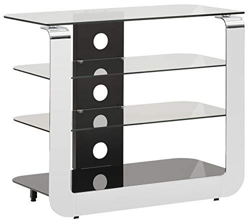 MAJA Möbel Media Modelle Glas TV-und HiFi-Rack, Metall Chrom-Schwarzglas, 82,0 x 68,0 x 40,6 cm