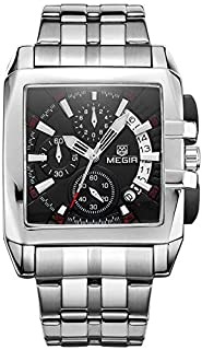 Megir Watch For Men, Stainless Steel Band, Chronograph, M-2018-11, Analog Display