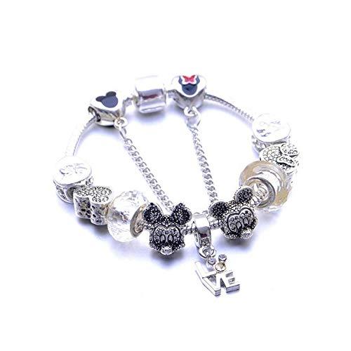 Pulsera para niños con cuentas de cristal de amor blanco con diseño de oso de Mickey Minnie.