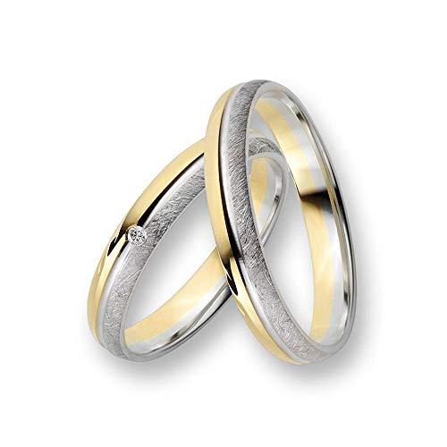 CORE by Schumann Design Trauringe Eheringe aus 585 Gold (14 Karat) Gelbgold/Weißgold Bicolor mit echten Diamanten GRATIS Testringservice & Gravur 19103319