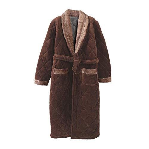 GNLIAN HUAHUA Homewear Invierno de los Hombres 3 Capas de Coral del Traje a Cuadros de Manga Larga Vestido de Kimono Albornoz Inicio Ropa Ropa de Dormir Masculino SPA Informal Homewear, XXL Vendaje