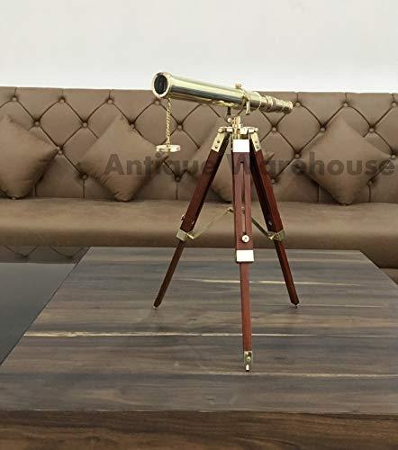 Nautical Handmade Instruments Telescopio náutico Vintage de latón Antiguo con trípode de Madera, cumpleaños, Navidad, Año Nuevo