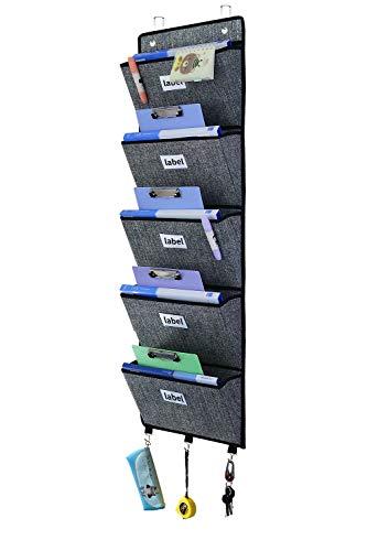 homyfort über der Tür Wandhalterung Stoff klappbar Datei Organizer, Aufhängen Ordner, Wand Magazinhalter, Dokument Tasche Magazin Aufbewahrung, 5 Taschen, Schwarz Leinen, XAZ05C