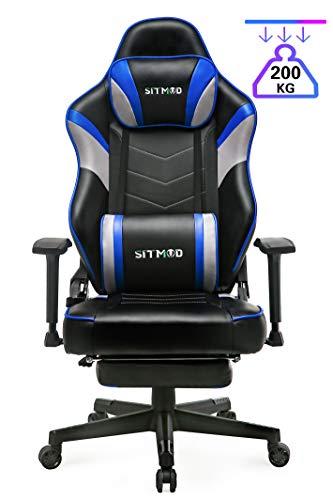 SITMOD Racer Gaming Stuhl Gamer Stühle 200kg PU Leder mit Massagekissen, Leuchtende Stickerei...