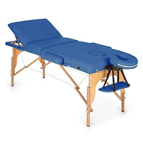 Klarfit MT 500, Massageliege, 10-stufige Rückenlehne, Armlehnen, Kopfstütze, verstellbare Fußstützen, Gesichtsloch, 10 cm Polsterung, Feinzellschaum, Kunstleder, Transport-Koffer, verschiedene Farben