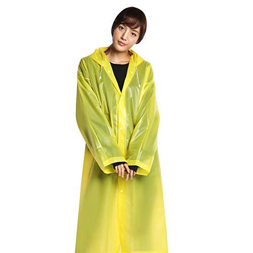 Modieuze Eva dames mannen regenjas verdikt waterdicht regenponcho mantel volwassenen helder transparant camping hoodie regenkleding pak Eén maat geel