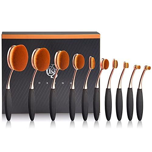 Yoseng Makeup Brushes Set 10Pcs Professional Oval Toothbrush Foundation Cream Contour Powder Blush Conceler Eyeliner Blending Brush New Fashionable Super Soft Cosmetic Brushes Tool with Box(Rose Gold)