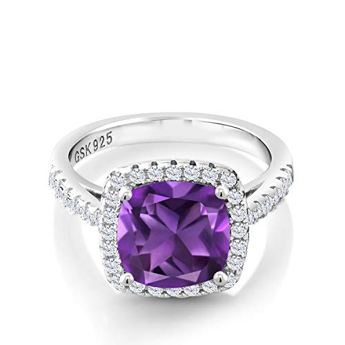 Gem Stone King 925 Sterling Silver Purple Amethyst and White Created Sapphire Women's Engagement Ring (2.60 Cttw, 8MM Cushion Cut, 2.60 Ct Cushion)) (Size 6)