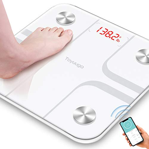 Toyuugo Bluetooth Body Fat Bathroom Scale,Scales Digital Weight,Weight Scale,Body Composition Analyzer Wireless BMI with Smart Phone App Scales,396 Pounds / 180kg Max(White)