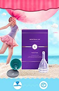 Menstrual Cup -Sterilized Pack & Unique Discharge Valve - Empty Your Cup Without Take Out - Organic Menstrual Cup Set for Women - Tampon and Pad Alternative - Feminine Hygiene Protection