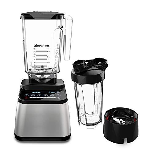 Blendtec Designer 725 counter top blender, 90 oz and 34 oz, Stainless Black + Go Jar