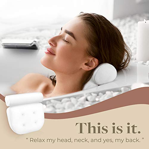 IndulgeMe Luxury Bath Pillow, Bathtub Spa Pillow with Extra Large Suction Cups, Helps Support Head, Back, Shoulder and Neck, Fits All Bathtub, Hot Tub, Jacuzzi Spas, with a Bonus Drain Cover.