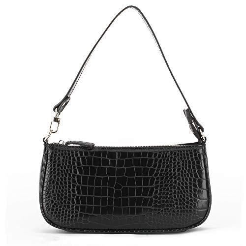Retro Crocodile Effect Croc Embossed Faux Leather Baguette Bag for Women Shoulder Purse Handbag, Black Croc, One Size