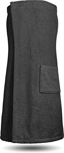 normani Saunakilt Saunatuch für Damen 100% Bio Baumwolle mit praktischem Schnellverschluss Oeko-Tex® 100 Farbe Schwarz