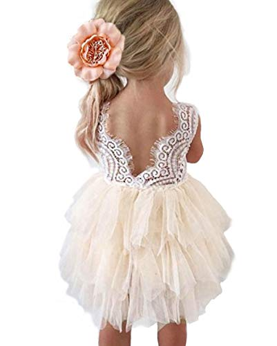 Backless A-line Lace Back Flower Girl Dress (1T, Ivory)