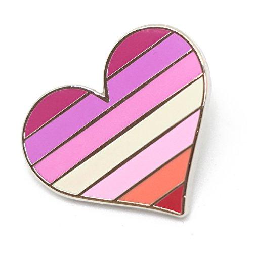 Compoco Lesbian Pride Pin Flag LGBTQ Gay Heart Flag Lapel Pin